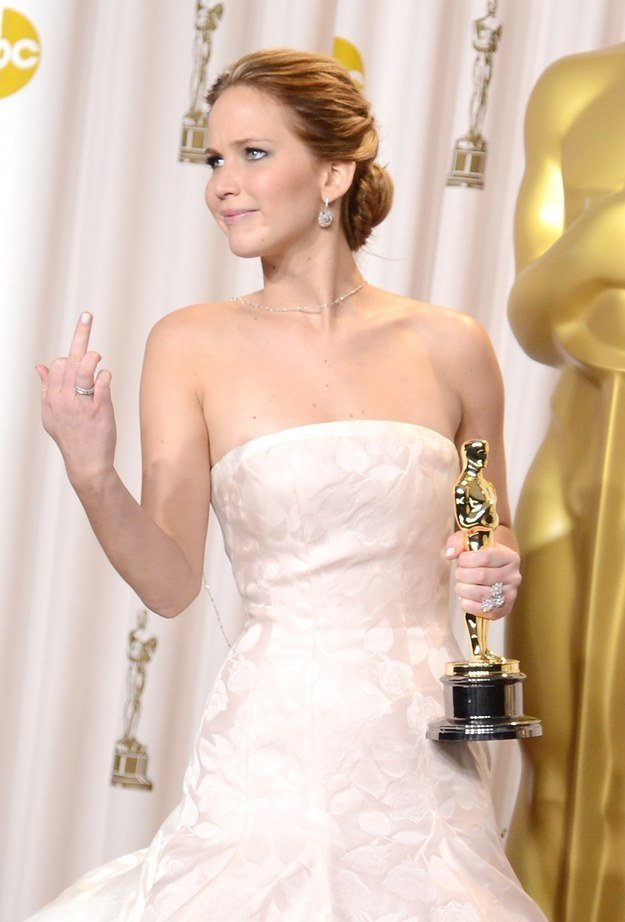 Jennifer Lawrence Giving the Finger