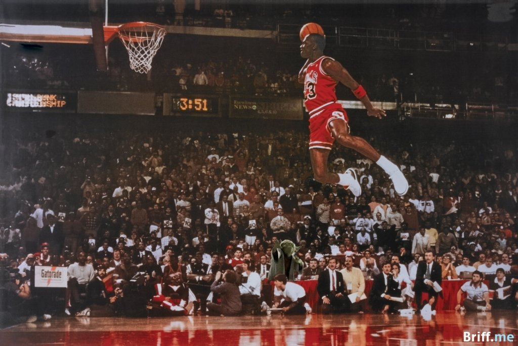 Michael Jordan Dunk getting help from Yoda from Star Wars - Briff.me