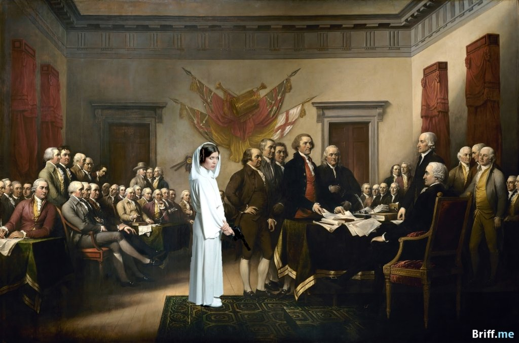 US Declaration of Independence with Princess Leia from Star Wars - Briff.me