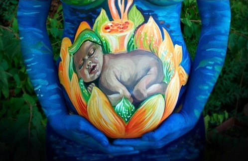 Pregnant Belly Painting Baby Inside