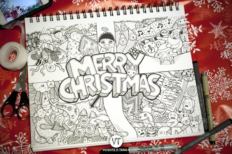 Merry Christmas Original Greetings Doodle
