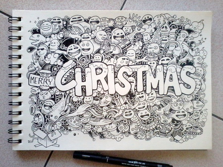 Merry Christmas Original Greetings Doodle 2