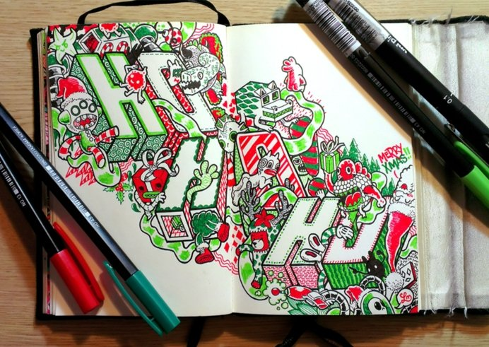 Merry Christmas Original Greetings Doodle 3 Ho Ho Ho