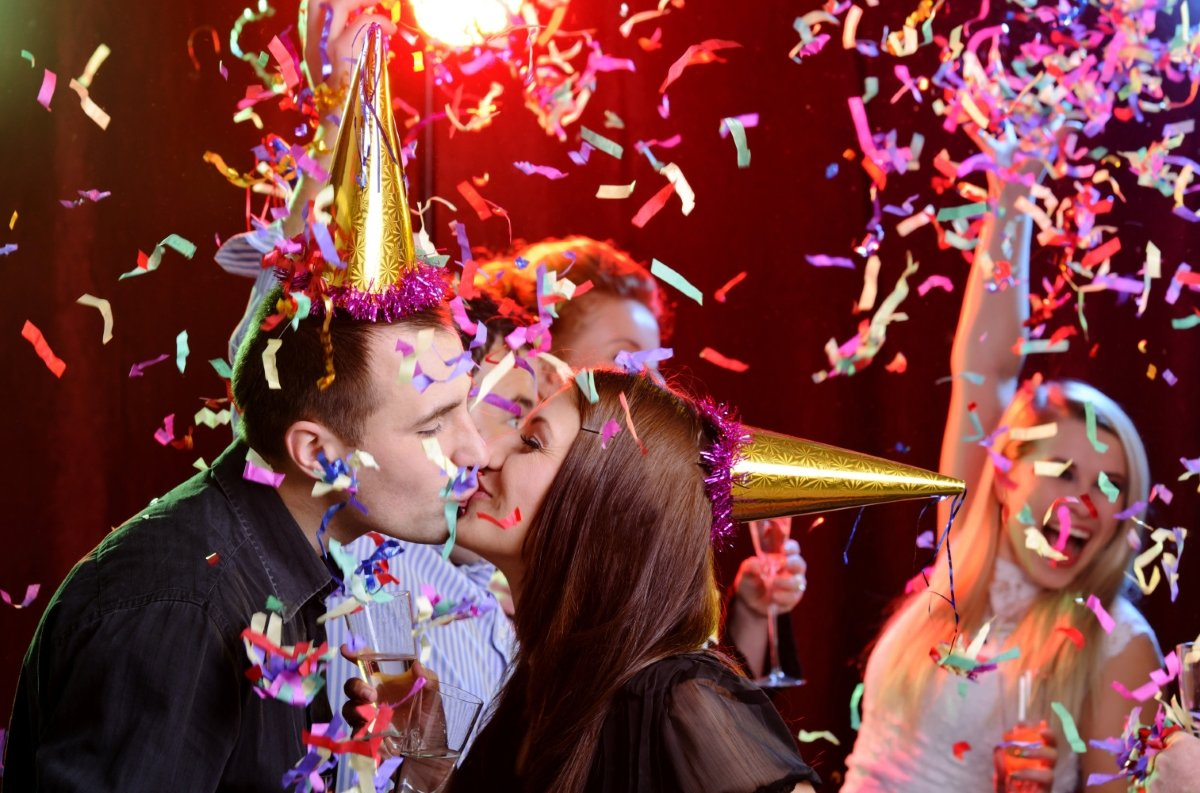 Romantic Kiss for New Years Eve Party