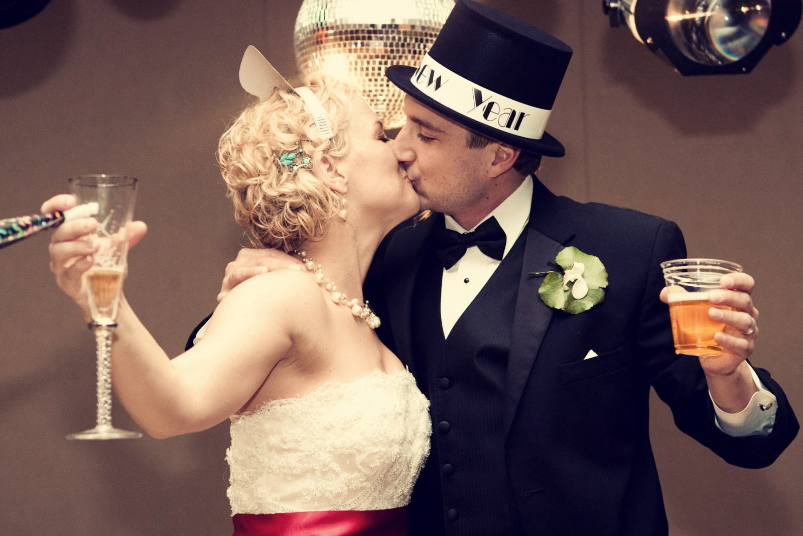 Romantic Kiss for New Years Eve Party Vintage