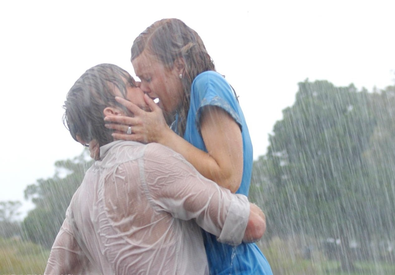 Romantic Kiss for New Years Eve in the Rain The Notebook