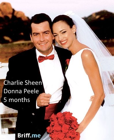 Short Marriage - Charlie Sheen and Donna Peele - 5 months