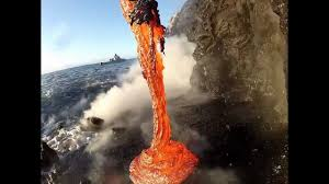 Rare up close footage of Lava entering the ocean.