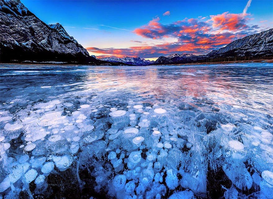 Abraham Lake In Alberta, Canada Frozen Lakes