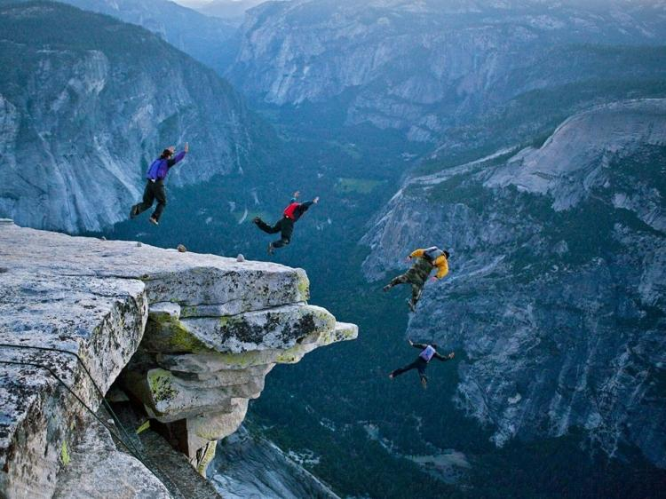 Base jumping in Yosemite High Places