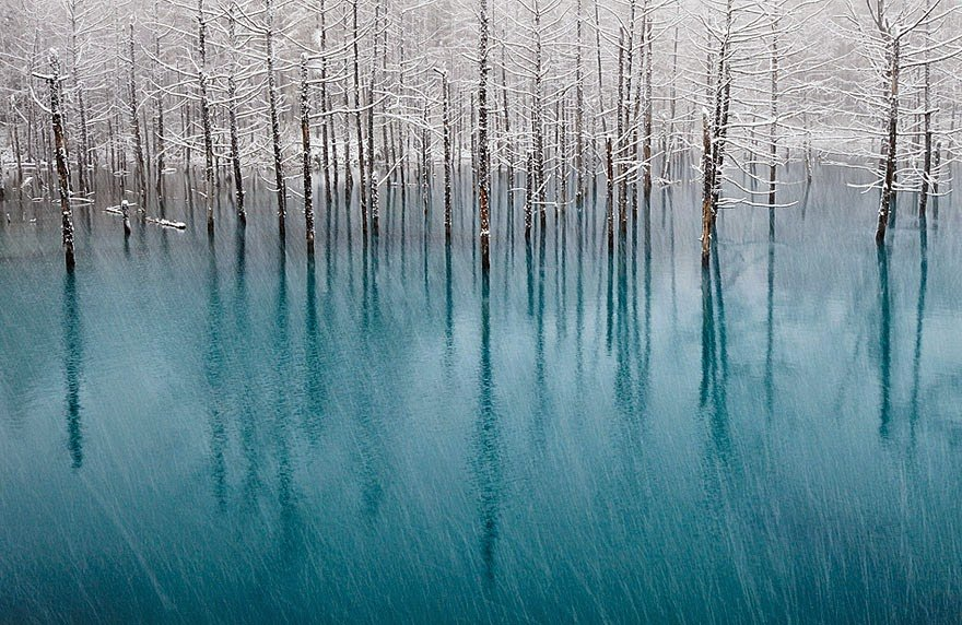 Blue Pond In Japan Frozen Lakes