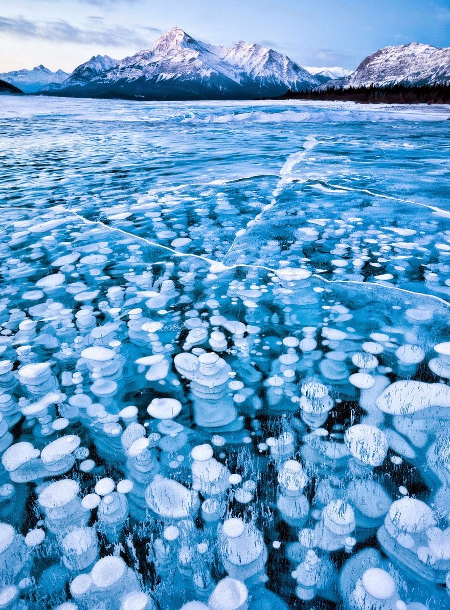 Bubbles Under The Ice Of Abraham Lake, Canada Frozen Lakes