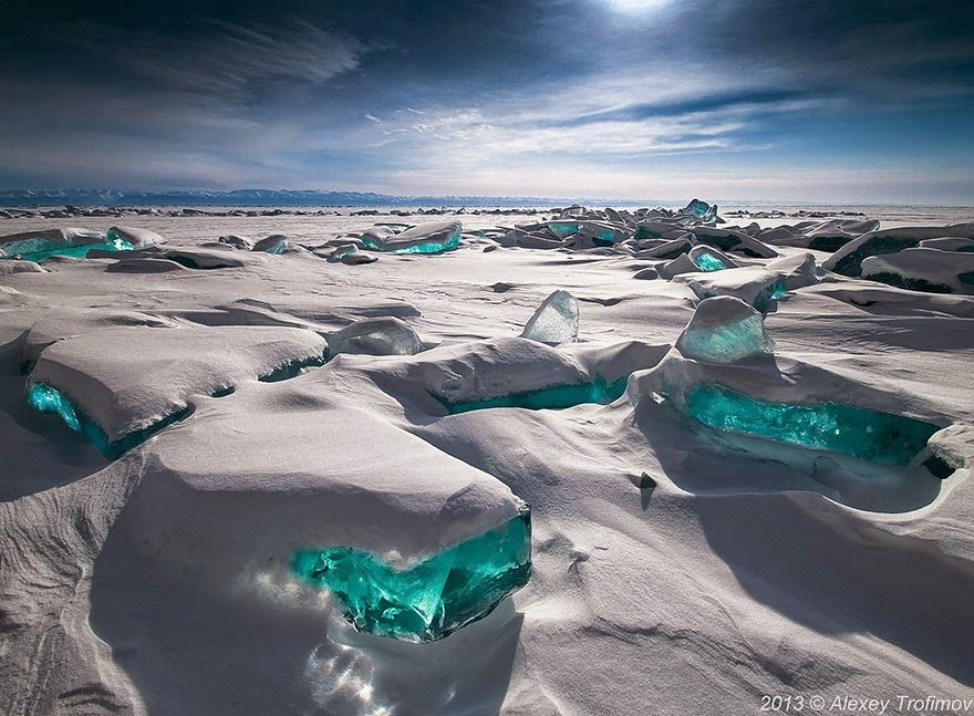Emerald Ice On Baikal Lake, Russia Frozen Lakes