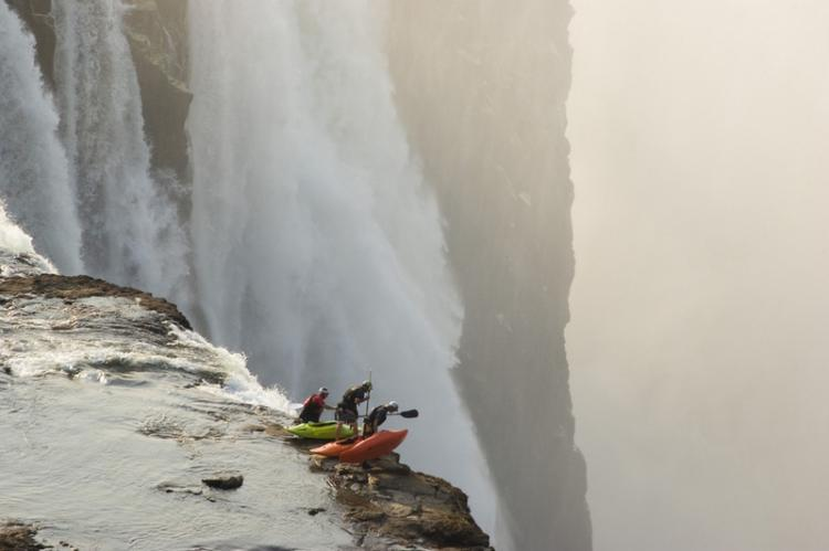 Extreme kayaking at Victoria Falls High Place