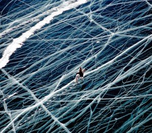 Ice Rider In Siberia, Russia Frozen Lake