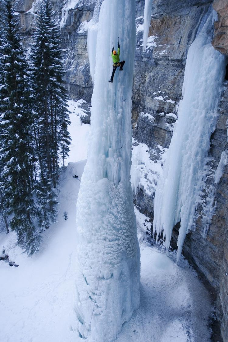 Ice climbing a frozen waterfall High Place