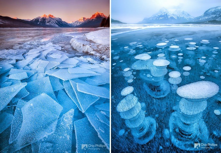 Lake McDonald In Montana, USA & Abraham Lake In Canada Frozen Lake