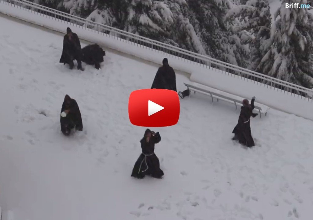 Monks Playing with Snow
