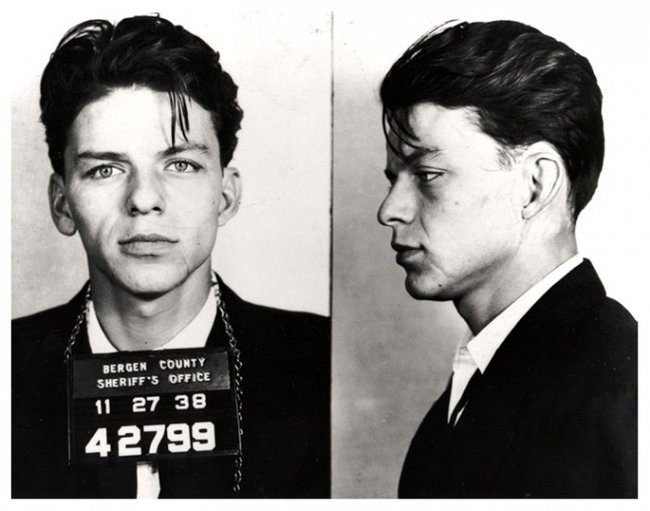 A 23-year-old Frank Sinatra has his mug shots taken after he was arrested for adultery and seduction, a crime at the time. [1938] Young Celebrity