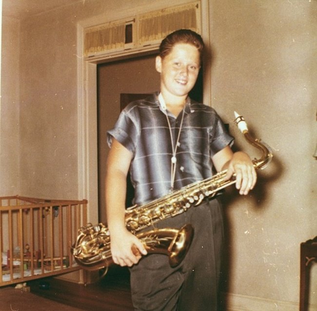 A young BIll Clinton with his saxophone. [c. 1960] Young Celebrity