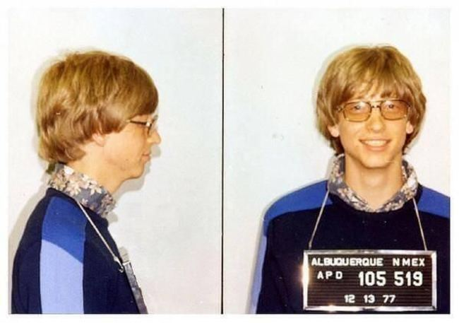 Bill Gates' mug shot. [1977] Young Celebrity