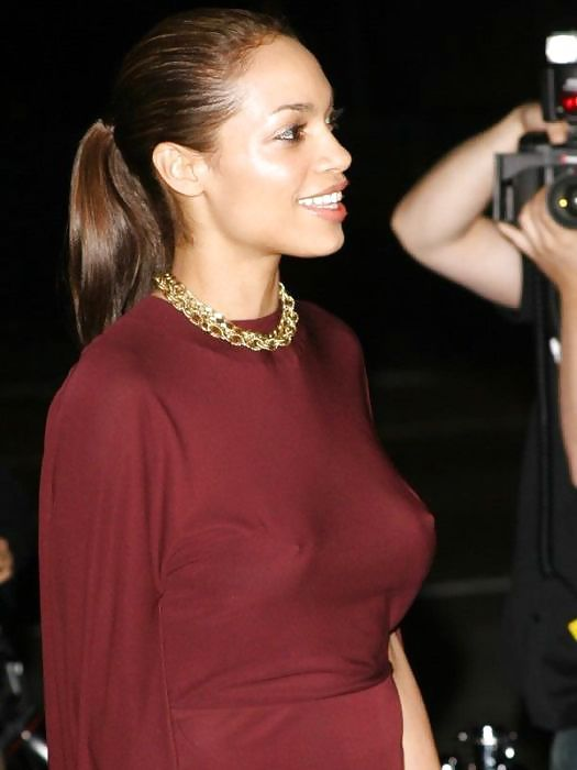 Celebrities with no bra 9 - Rosario Dawson Braless