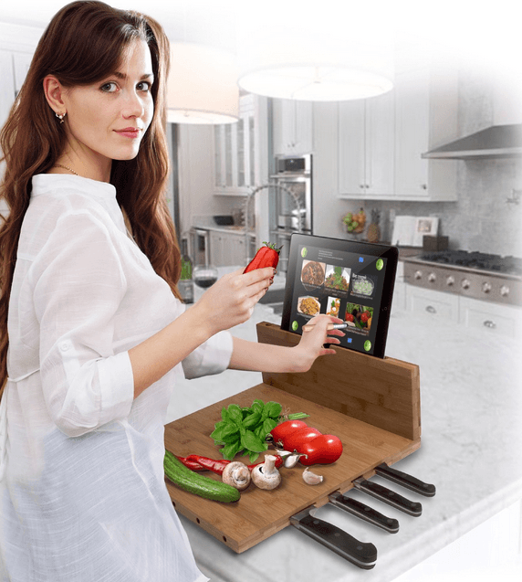 Chopping Board With Built-in iPad Stand Great Packages