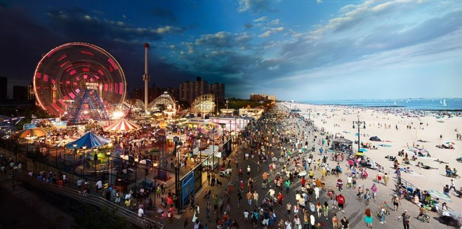 Coney Island Day and Night