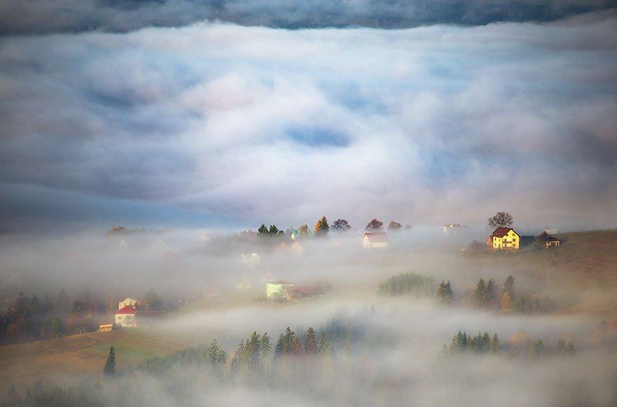 Different worlds Beskidy – Poland Misty Village
