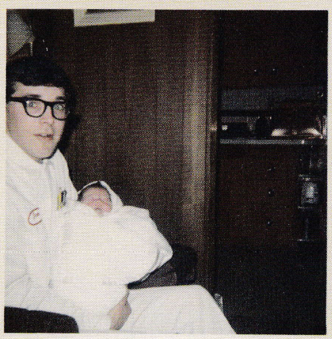 Don Cobain, Kurt Cobain's father, holds his new-born son. [1967] Young Celebrity