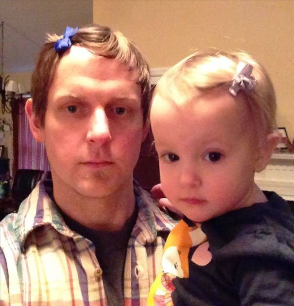 Father's Hair Bow Parenting Fails