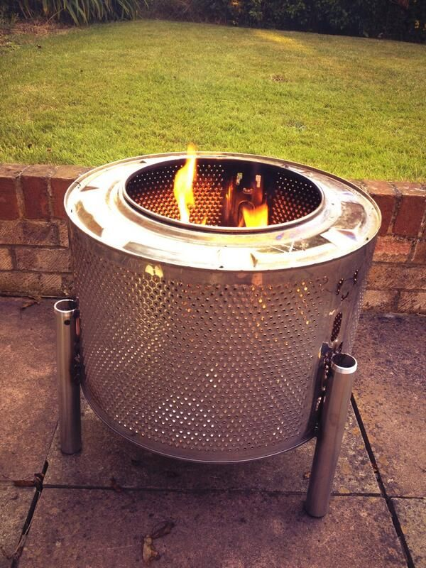 Firepit from Washing Machine Drum Upcycling