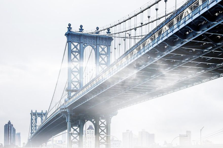 Fog Creeps Under The Manhattan Bridge, New York, New York Photo Contest