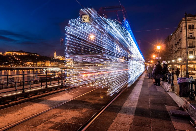 Going Back to the Future in a twinkling LED Tram Great Photos