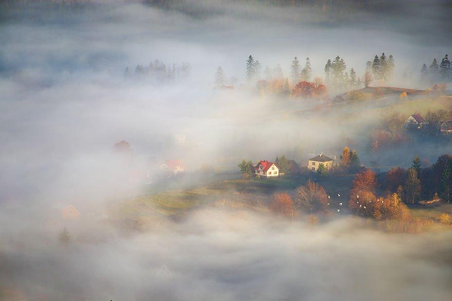 In the autumn valley Beskidy – Poland Misty Villages