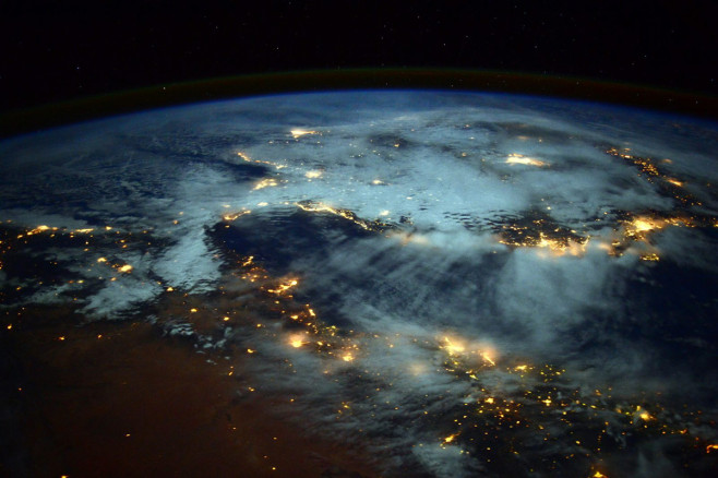Light bursting scene of Earth from the International Space Station Great Photos