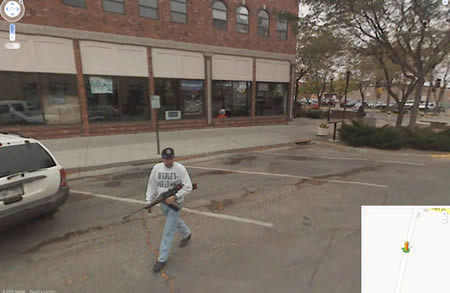 Look, here is a gunman in the Rapid City, South Dakota Google Street Surprises