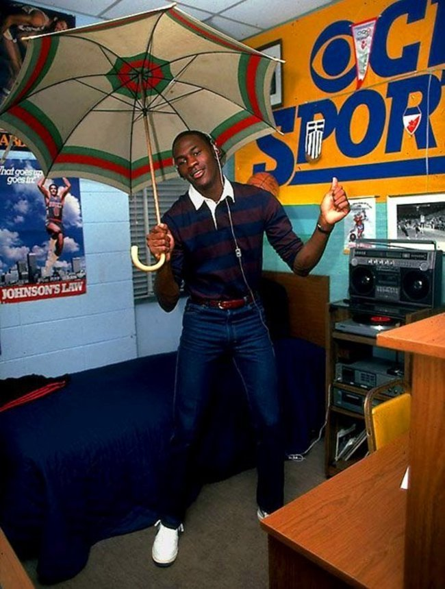 Michael Jordan in his dorm at college. [1982] Young Celebrity