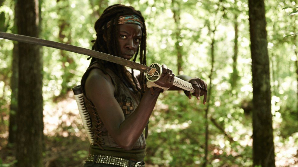 Michonne acted by DanaiGurira in The Walking Dead Supergirls
