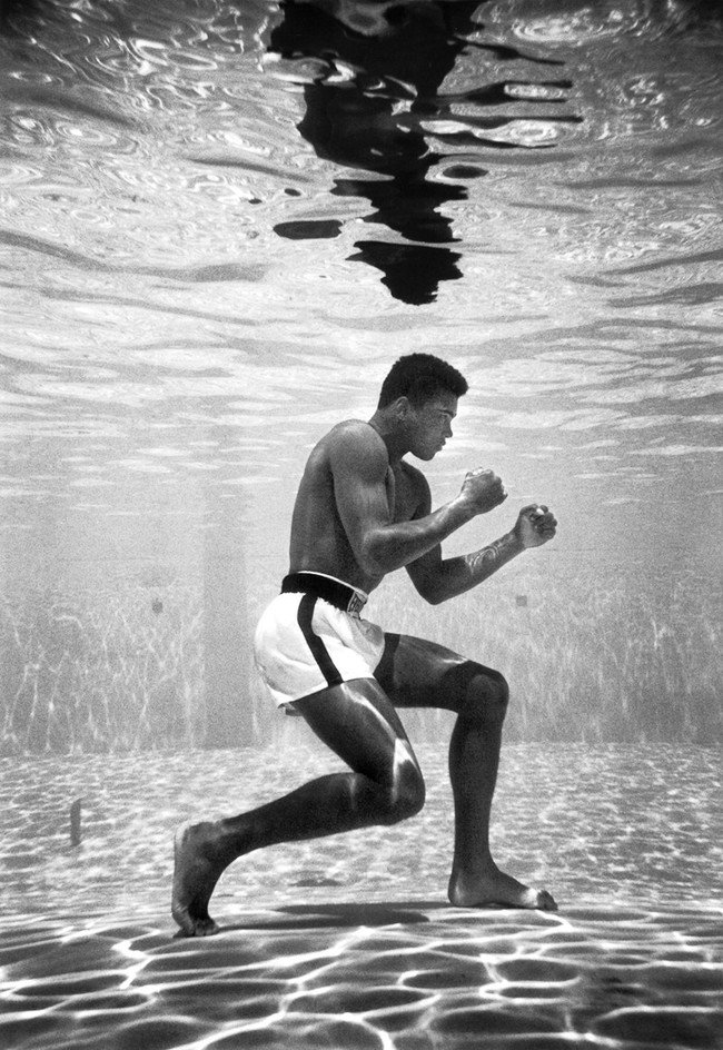 Muhammad Ali, then still Cassius Clay, training in a pool at the Sir John Hotel in Miami. [1961] Young Celebrity