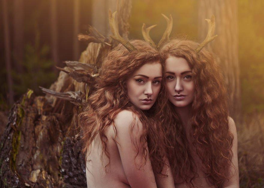 Red head twins Kateřina and Marie Surreal Portraits