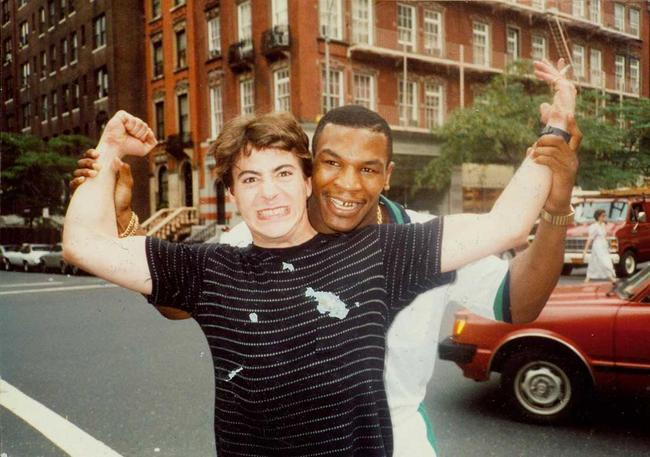 Robert Downy Jr poses with his father's friend, Mike Tyson. [c. 1980s] Young Celebrity