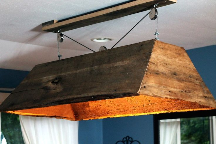 Rustic light fixture made from reclaimed barn wood Upcycling