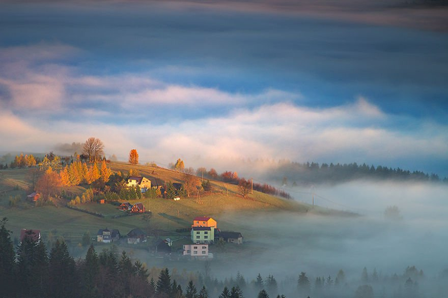 The first touch of light Beskidy – Poland Misty Villages