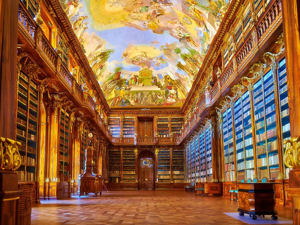 The main hall of the Strahov library in Prague House of Books