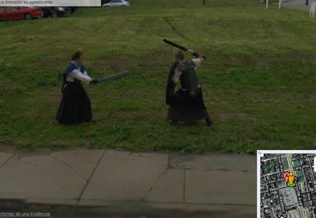 This fight was planned, though by artist Ben Kingsley and Robin Hewlett Google Street Surprises