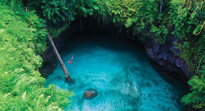 To Sua Ocean Trench in the Lotofaga village on the south coast of Upolu, Samoa Unusual Places