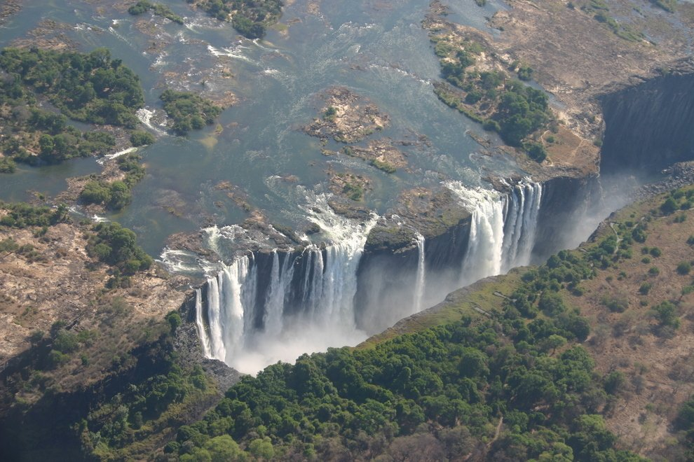 Victoria Falls bordering Zimbabwe and Zambia in Africa Unusual Places