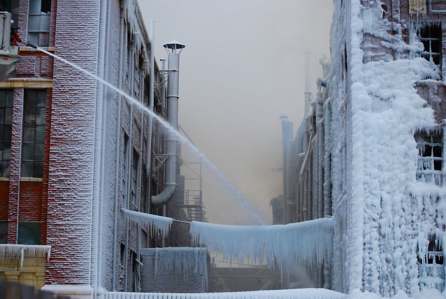 While Firemen Were Putting Out A Fire In Chicago, The Water Froze And Coated Everything In Ice, Chicago, Illinois Photo Contest