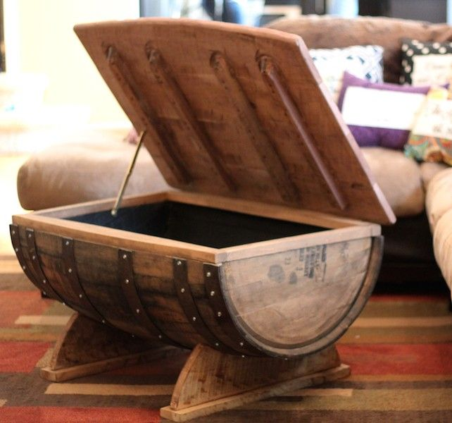 Whiskey barrel coffee table with storage Upcycling